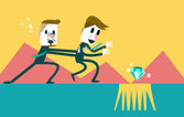 Businessman save his friend from the trap. — Stock Vector