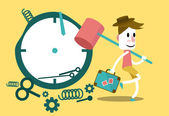 Businessman hitting clock and going on vacation — Stockvector