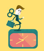 Businessman running on the clock. — Stock Vector