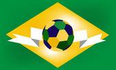 Soccer ball of Brazil in the green background — Stock Vector