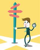 Businessman using compass to navigate the success way. — Stock vektor