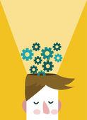 Head and Brain Gears in Progress. — Stock Vector