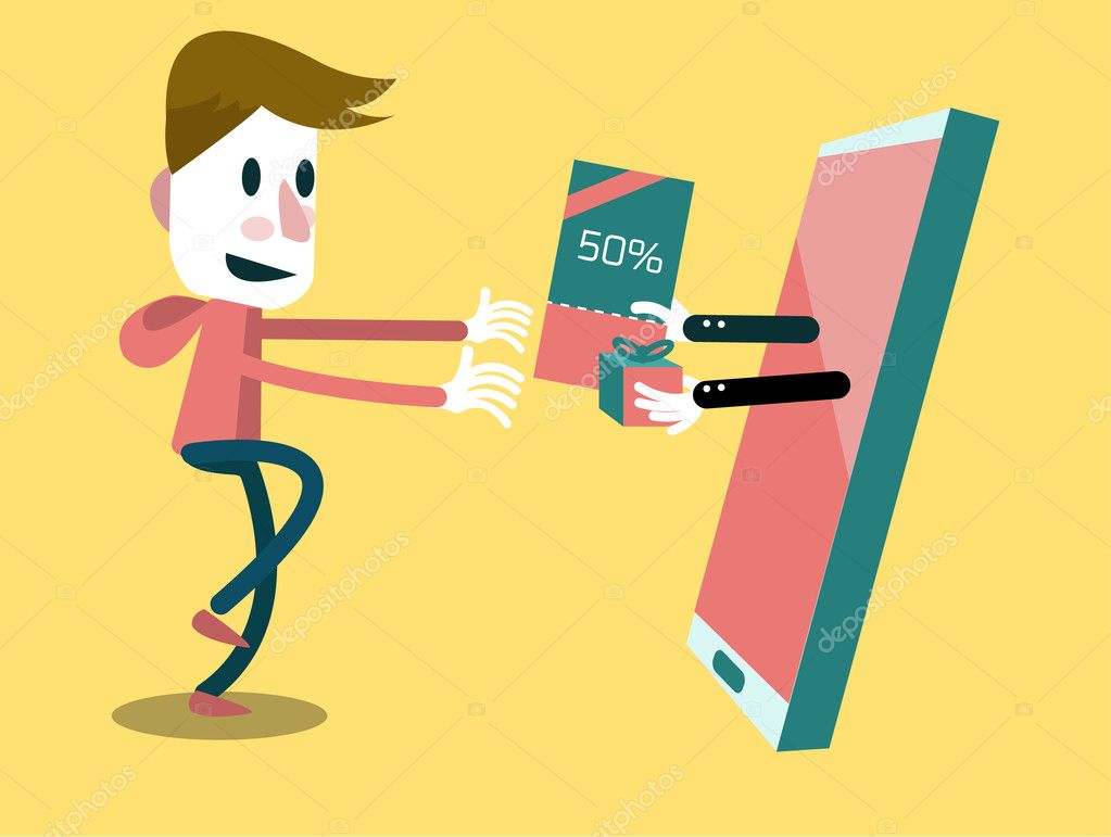 excited man getting gift voucher and promotion from his smart excited man getting gift voucher and promotion from his smart phone stock vector
