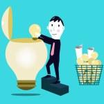 Businessman putting ideas into Business ideas, — Stock Vector