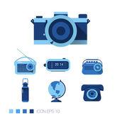 Retro items Icons — Vecteur