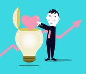 Businessman putting love symbol inside a light bulb — Stock Vector