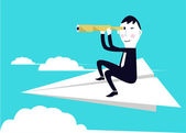 Businessman on paper airplane and seeking for an opportunity. — Stock Vector