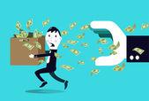 Terrified businessman hiding money from a big businessman hand. — Stock Vector
