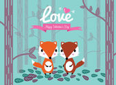 Cute couple foxes in the forest. — Vecteur