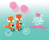 Cute couple foxes ride tandem bicycle. — Stock Vector