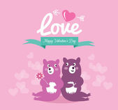 Cute couple bears in love. — Vettoriale Stock