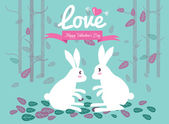 Cute couple rabbits in the forest. — Stock Vector