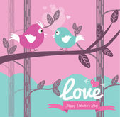 Cute couple bird in love. — Stock Vector