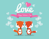 Cute couple foxes in love. — Stock Vector