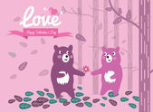 Cute couple bears in the forest. — Stock Vector