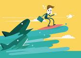 Businessman surfing to escape the shark attack. — Stockvektor