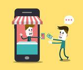 Nakupování online, online obchod na smartphonu. — Stock vektor
