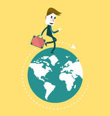 Businessman walking on the globe. — Stock Vector
