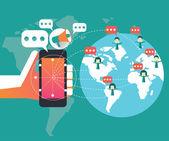 Digital marketing und social-network-konzept. — Stockvektor