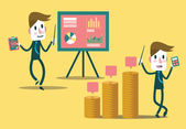 Set of businessman characters presentation growth graph and profit graph. — Stockvektor