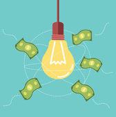 Ideas light bulb attract money to its orbit. — Stockvektor