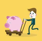 Businessman happy with big piggy bank. money saving . — Stock Vector