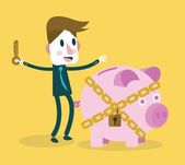 Businessman locked piggy bank. — Stock Vector