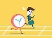 Businessmen racing with clock. — Stock Vector
