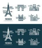 France Landmarks. — Stock Vector