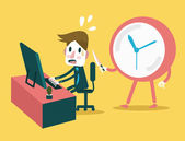 Businessman working in the deadline time with clock threaten. — Stock Vector