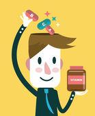 Podnikatel dát vitamíny v hlavě. — Stock vektor