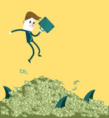 Businessman jumping to the big dollar pile and sharks all around. — Stock Vector