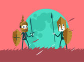Two warrior businessman in the battlefield. — Stock Vector