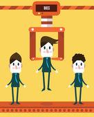 Robotic choosing worker from group of businessmen. — Stock Vector