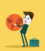 Businessman holding big globe. — Stock Vector