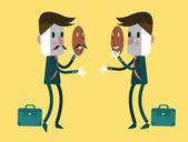 Fake businessmen wearing smile mask. — Stock Vector