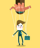 Businessman marionette on ropes controlled hand. — Stock Vector