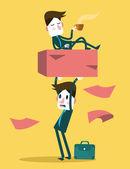 Businessman work hard alone. — Stock Vector