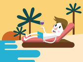 Young man relaxing and enjoying on the beach with his wine glass. — Stock Vector