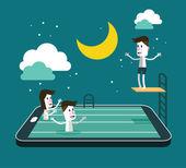 Nadando y saltando en la piscina de dispositivos inteligentes. — Vector de stock