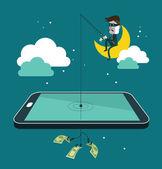 Ladrón de red social robando dinero por billetes de dólar de cartera en la pantalla del teléfono inteligente de pesca. — Vector de stock