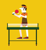 Retro man holding a ball and a ping pong. — Stock Vector