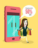 Women shopping online by smartphone. — Stock Vector