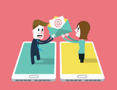 A girl sent email to A man on smartphone. — Stock Vector