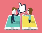 A girl sent emotion sign to A man on smartphone. — Stock Vector