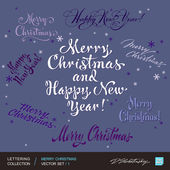 CHRISTMAS greetings hand lettering set 1 (vector) — Stock Vector