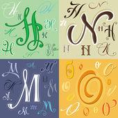 Letras de h m n o — Vector de stock
