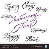 FAMILY greetings hand lettering set 2 (vector) — Stock Vector