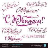 HAPPY ANNIVERSARY greetings hand lettering set 2 (vector) — Stock Vector