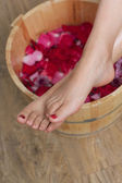 Woman do foot bath — Stock Photo